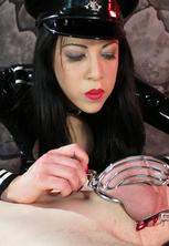 Asian femdom chastity tease  femdom lydia teases her chastised slave with a dildo. Mistress Lydia teases her chastised slave with a vibrator.